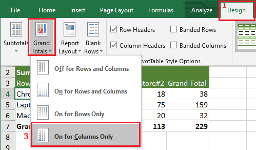 Show Grand Totals in Pivot Table Column Only