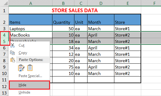 Hide Rows In Excel
