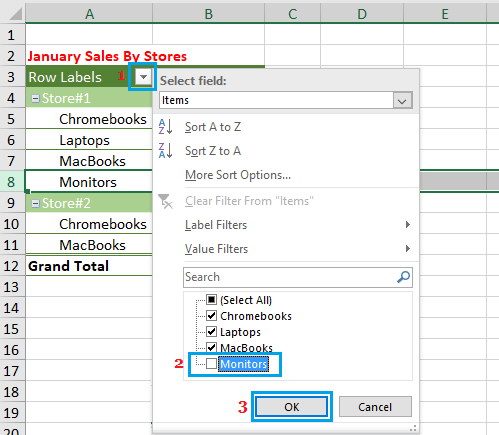 Hide Values or Items in Pivot Table