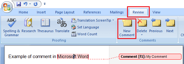Add New Comment Option in Microsoft Word 2007