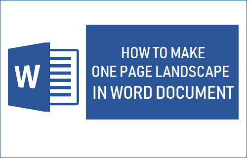 Make One Page Landscape in Word Document