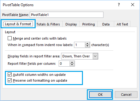 Preserve cell Formatting in PivotTable on Update