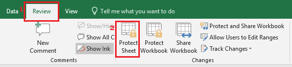 Protect Worksheet Option in Excel
