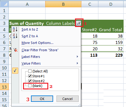 Hide Blank in Pivot Table Columns