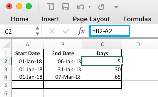 Subtract Dates in Microsoft Excel