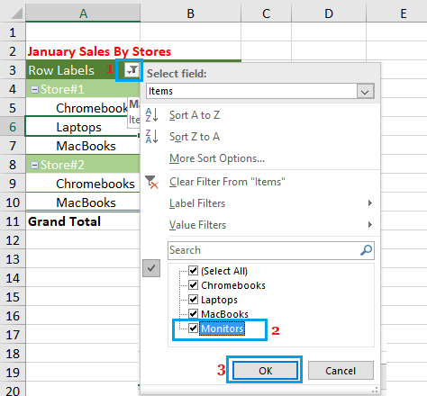 Unhide Vales or Items in Pivot Table