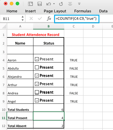 Use Check Boxes in Excel Formula