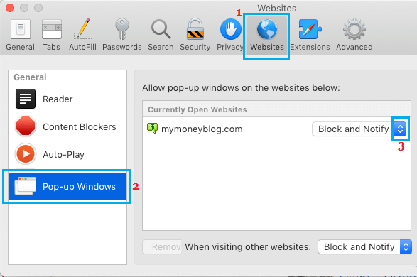 Allow or Block Pop-ups in Safari Browser for Single Website on Mac