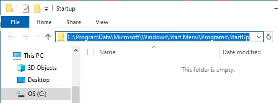 System Level Startup Folder Location on Windows PC