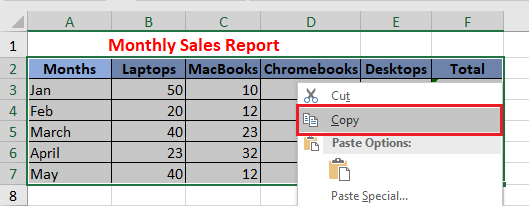 Copy Selection in Excel