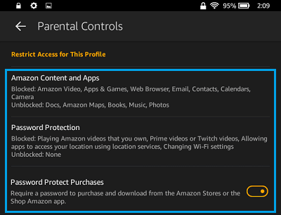 Default Parental Control Settings