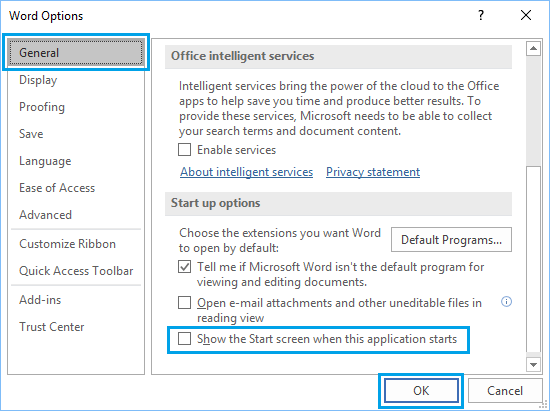 Disable Start Screen in Microsoft Word