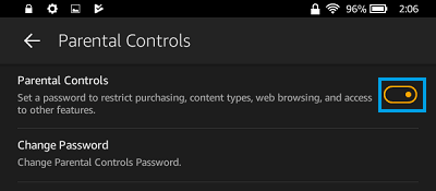 Enable Parental Controls on Kindle Fire