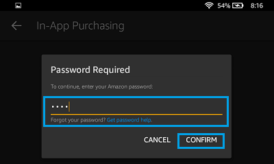Enter Amazon Password on Kindle Fire
