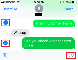 Select Multiple Messages on iPhone