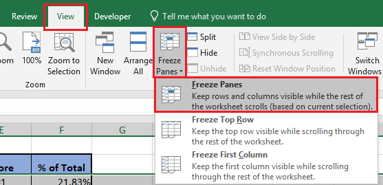 Freeze Panes Option in Excel