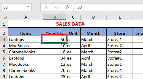 Select Cell in Excel