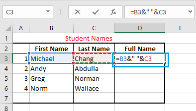"""Combine Data and Insert Space Using """"&"""" Operator in Excel"""