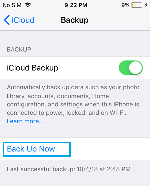 Manually Backup iPhone to iCloud