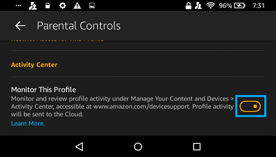Monitor This Profile Option on Kindle Fire