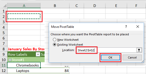 Move PivotTable to Another Location in Same Worksheet