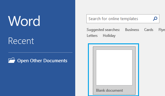 Open Blank Word Document