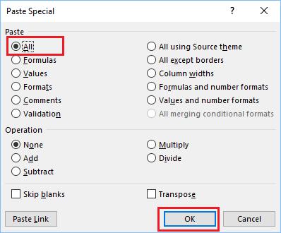 Paste Special Dialog Box in Excel
