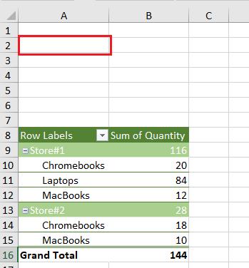 Pivot Table in Incorrect Location
