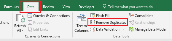 Remove Duplicates Option in Excel
