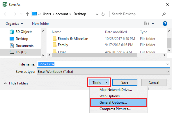 Save As Tools General Options in Excel