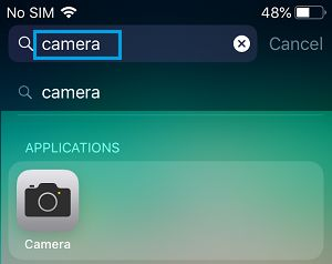 Search Camera App on iPhone