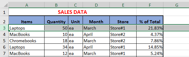 Select Row in Excel