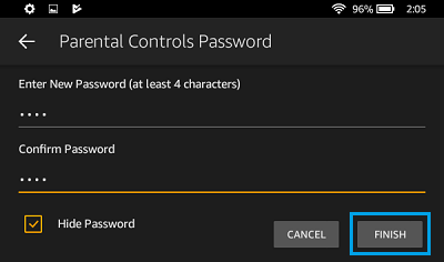 Set Parental Controls Password on Kindle Fire