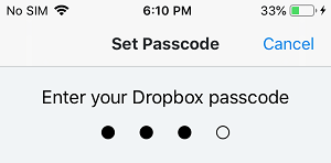 Setup Passcode For Dropbox App on iPhone