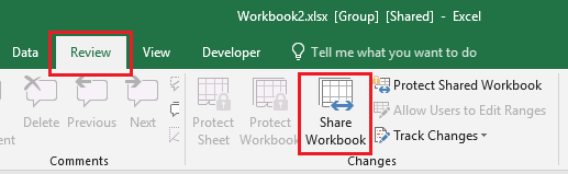 Share Workbook Option in Excel