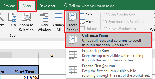 Unfreeze Panes Option in Excel