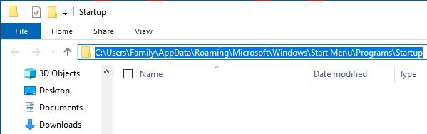 User Level Startup Folder Location on Windows PC