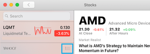 Open Watchlist on Stocks App For Mac