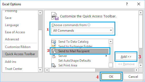 Add Send to Mail Recipient Option in Excel