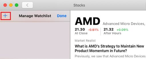 Add More Stocks to Watchlist on Stocks App For Mac