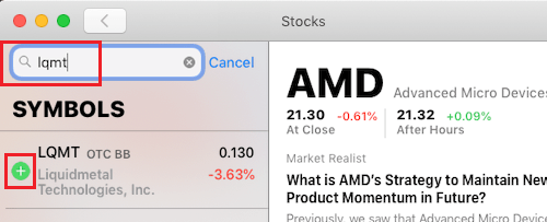 Add Stock to Watchlist in Stocks App For Mac