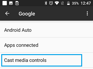 Cast Media Controls option on Android Phone