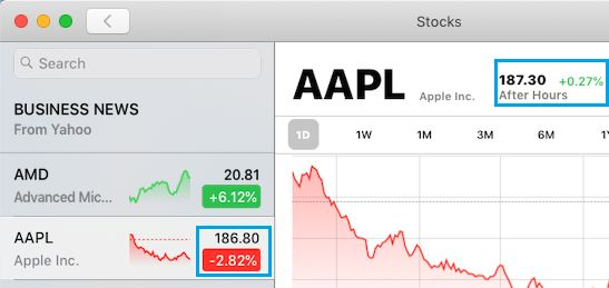 Check Current Stock Price in Stocks App For Mac
