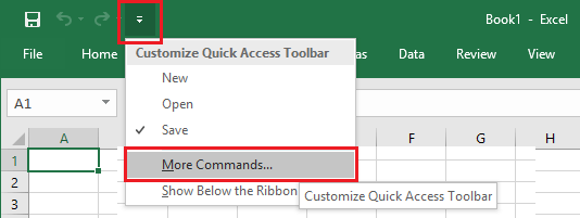 Customize Quick Access Toolbar Option in Excel