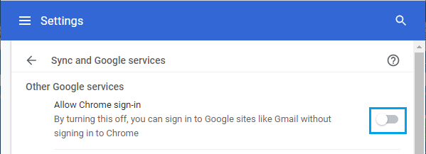 Disable Auto Sign-in to Chrome Browser