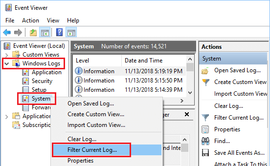 Filter Windows System Logs