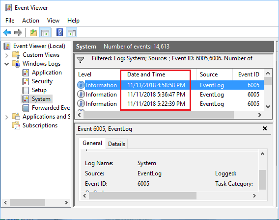 See Details of Startup and Shut Down Times in Event Viewer