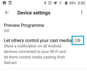 Disable Let others control your cast media option