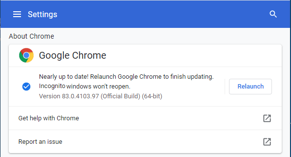 Install Google Chrome Update