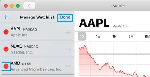 Remove Stocks From Watchlist in Stocks App For Mac
